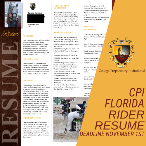2021 CPI Florida Rider Resume Reminder