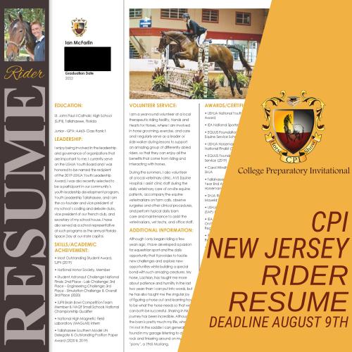 2021 CPI New Jersey Rider Resume