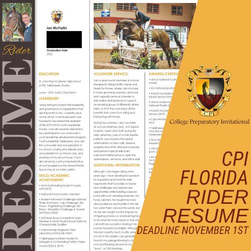 2022 CPI Florida Rider Resume