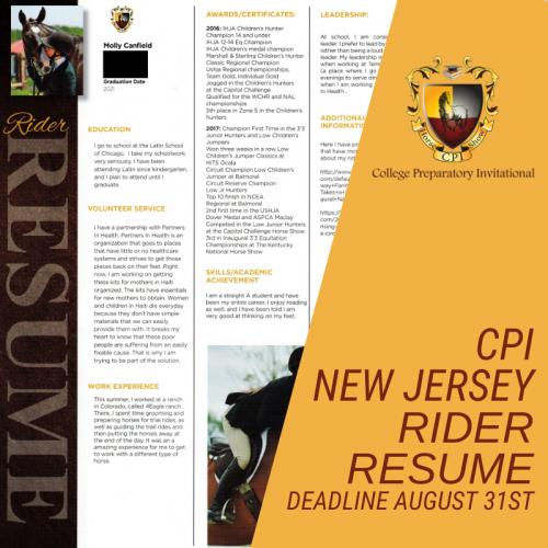 CPI New Jersey Rider Resume Photo