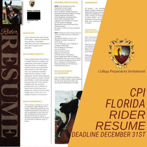 cpi Florida Rider Resume Photo